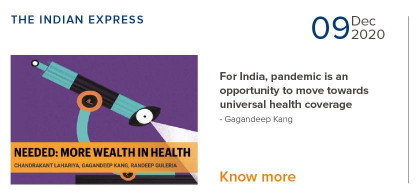 For India, pandemic is an opportunity to move towards universal health coverage - Gagandeep Kang