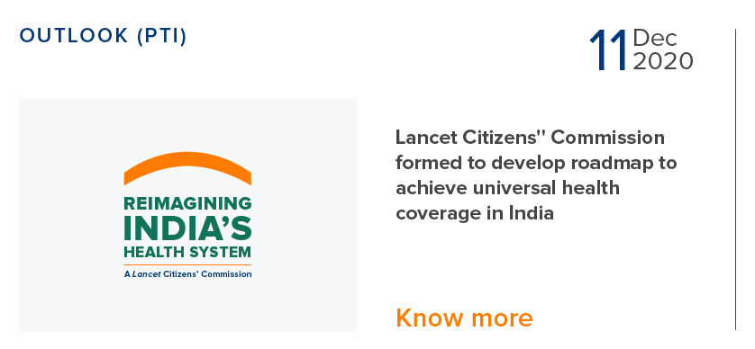 Lancet Citizens Commission formed to develop roadmap to achieve universal health coverage in India