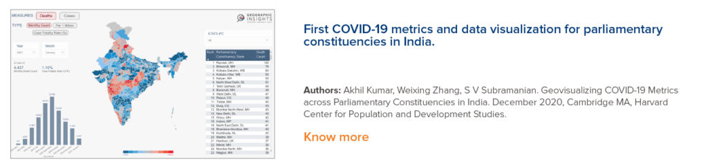 First COVID-19 metrics and data visualization for parliamentary constituencies in India
