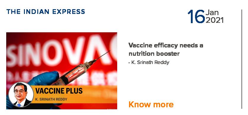 Vaccine efficancy needs a nutrition booster - K. Srinath Reddy
