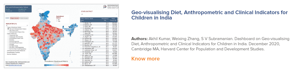 Geo-visualising diet, anthropometric and clinical indicators for children in India.